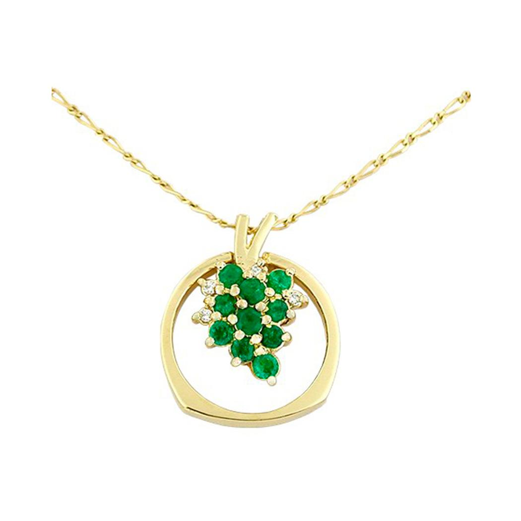 18K Gold Bunch of Grapes Emerald and Diamond Pendant - Ring