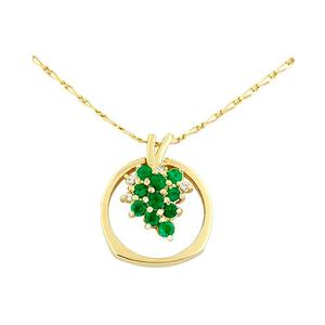 Pendant - ring with emeralds and diamonds in 18K yellow gold
