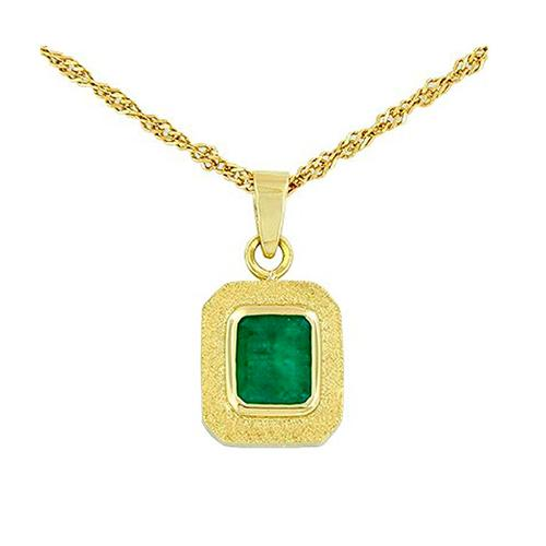 Bezel set emerald pendant in 18K gold with 0.65 Ct. emerald cut emerald