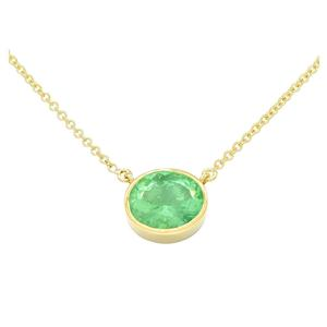 Bezel Set Solitaire Emerald Necklace in 18K Yellow Gold With Oval Shape Emerald
