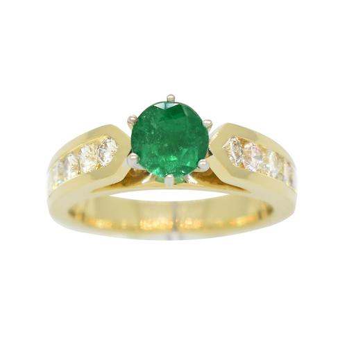 Emerald Engagement Ring in 2 Tones Gold and 10 Round Diamonds in Cathedral Ring Style