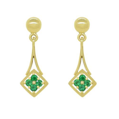 Small Chandelier Earrings with Round Emeralds in 18K Yellow Gold Dainty Earrings