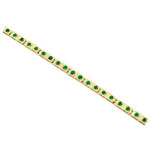 18K Yellow Gold Dainty Emerald Bracelet With Genuine Natural Colombian Emeralds