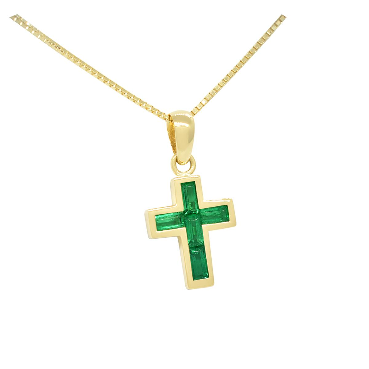 cross-emerald-pendant-with-baguette-cut-natural-emeralds-in-18k-yellow-gold