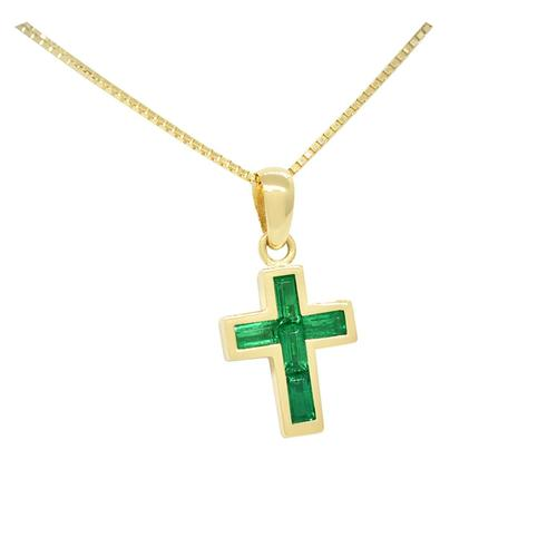 Cross Emerald Pendant with Baguette Cut Natural Emeralds in 18K Yellow Gold