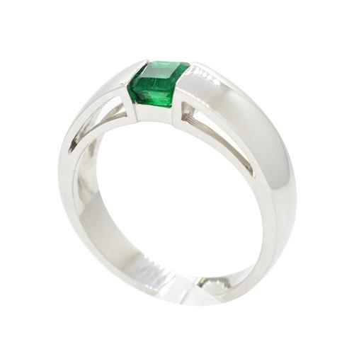 18K White Gold Ring With Emerald Cut Emerald