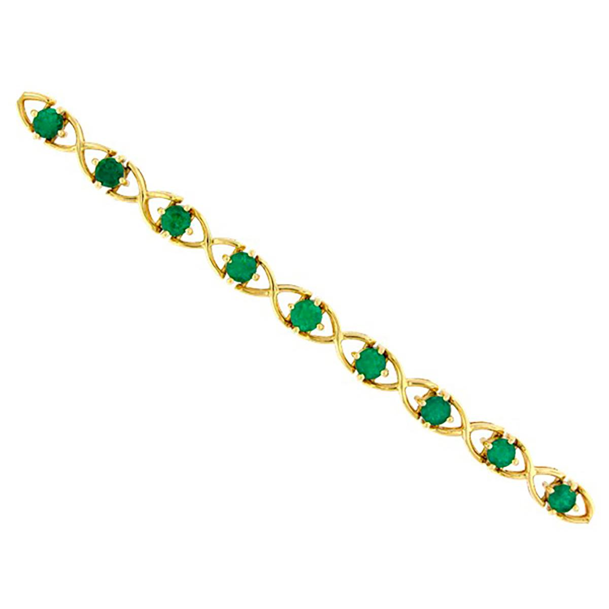 18k-yellow-gold-emerald-bracelet-with-16-round-cut-natural-colombian-emeralds