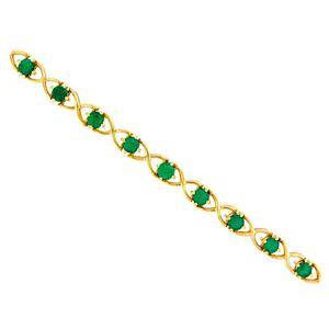 18K Yellow Gold Emerald Bracelet With 16 Round Cut Natural Colombian Emeralds