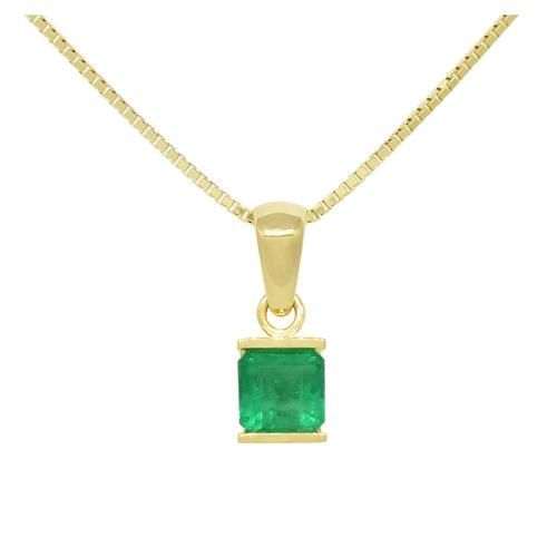 Solitaire Emerald Pendant in 18K Yellow Gold Tension Setting