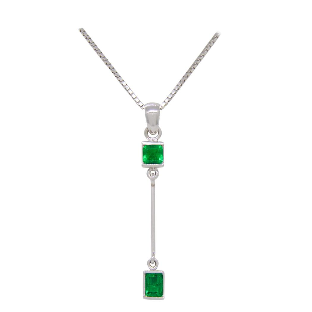 Emerald Necklace Custom Made in 18K White Gold for Baguette Cut Emeralds