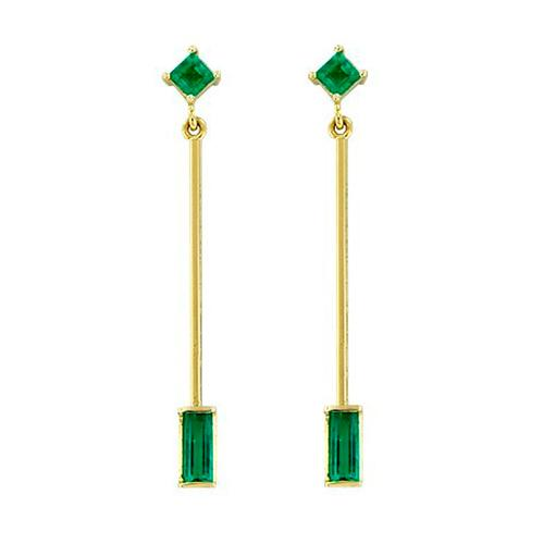 Thin Emerald Drop Dangle Earrings in 18K Yellow Gold