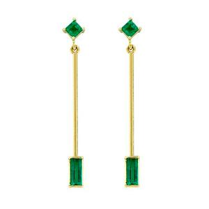 Drop emerald earrings custom made in 18K gold with 4 emeralds