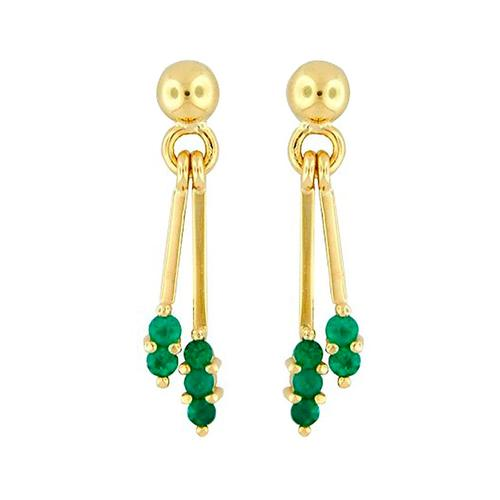 18K Gold Emerald Drop Dangle Earrings with 10 Round Cut Natural Emeralds
