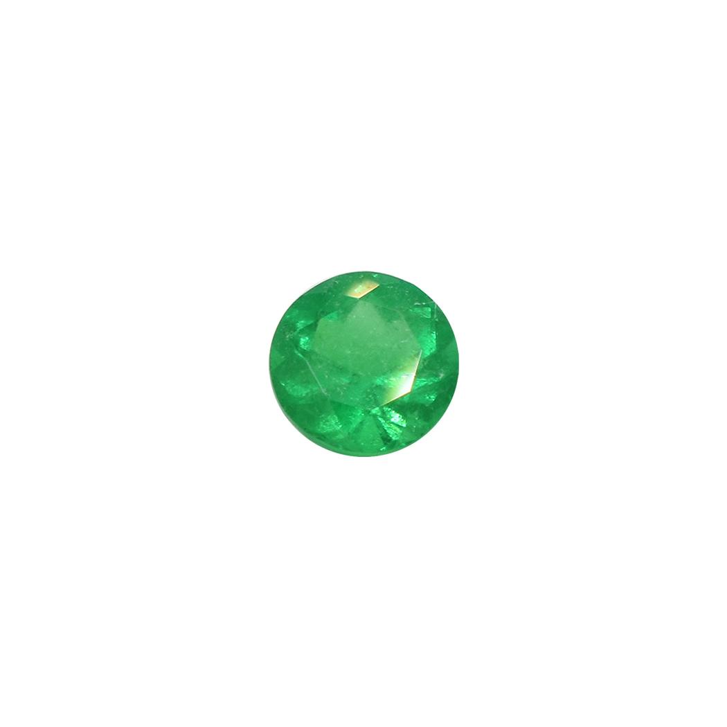 Loose Round Cut Natural Colombian Emerald in 0.74 Ct. Weight