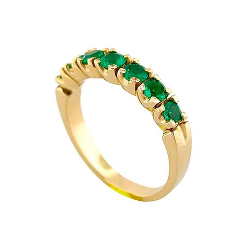 18K Gold Half Eternity Emerald Wedding Band With 7 Round Cut Natural Emeralds