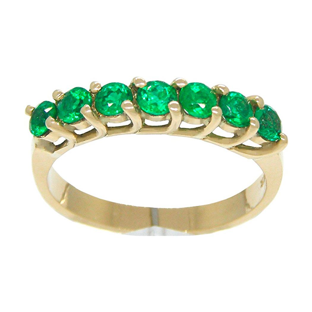 Half Eternity Wedding Band Ring in 18K Gold With Round Cut Emeralds