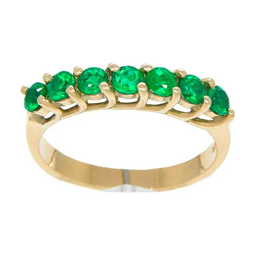 Emerald ring band custom made in 18K gold for 7 round cut emeralds