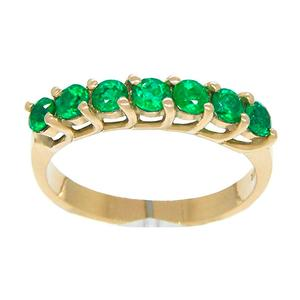 Emerald Band Ring in 18K Gold Prong Setting and 7 Round Cut Emeralds