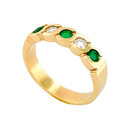 18K Gold Diamond and Emerald Half Eternity Wedding Band in Bezel Setting