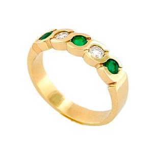 Emerald and Diamond Band Ring in 18K Gold Bezel Setting