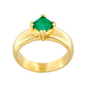 Square Shape Natural Emerald Set in Solid 18K Gold Solitarie Ring