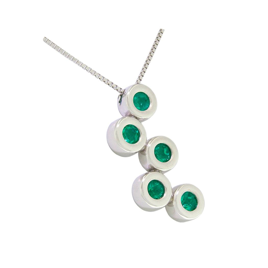 Bezel set emerald necklace in 18K white gold with 5 round cut emeralds