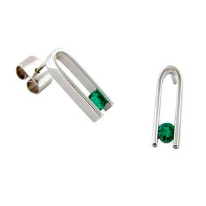 Tension Setting Drop Emerald Earrings in 18K White Gold with 2 Round Cut Emeralds