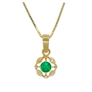 Emerald and Diamond Pendant in 18K Gold with Colombian Emerald and 4 Round Diamonds