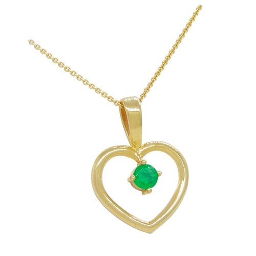 Gold Plated Silver Heart Shape Pendant with Genuine Round Cut Emerald
