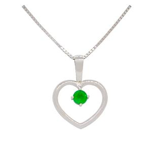 Sterling Silver Heart Shape Emerald Pendant With Round Cut Emerald