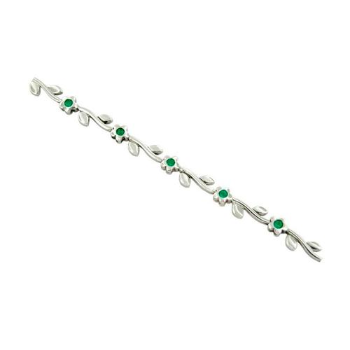 Dainty Emerald Bracelet in 18K White Gold Flower Design
