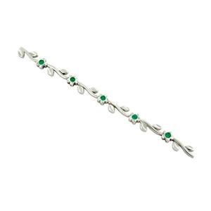 18K white gold emerald bracelet with flower design