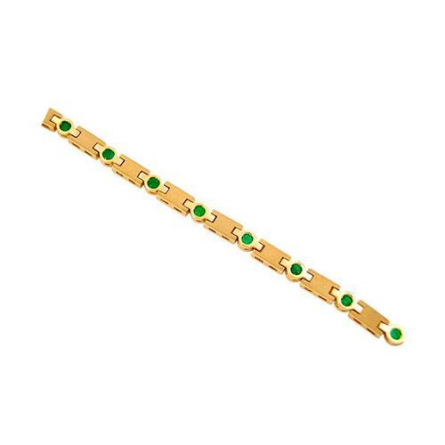 18K Yellow Gold Sandblast Finished Links Emerald Bracelet