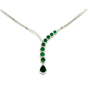 Emerald necklace in 18K white gold bezel set with round emeralds
