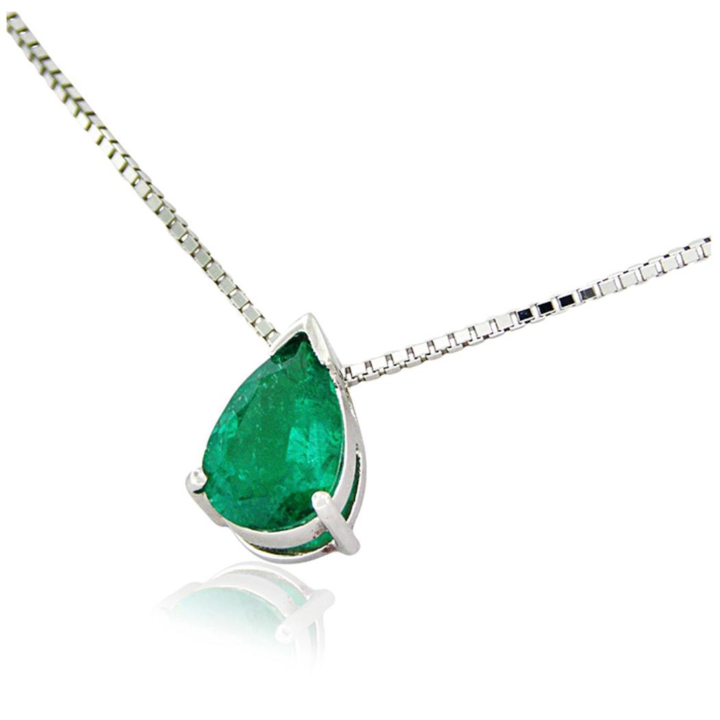 Pear shape emerald solitaire necklace in 18K white gold