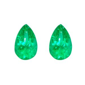Natural Colombian emeralds set with 2 pear shape emeralds
