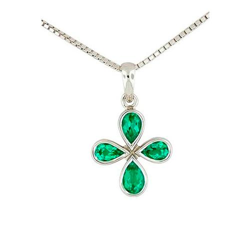 Pear Shape Natural Emeralds in 18K White Gold Bezel Setting Emerald Pendant