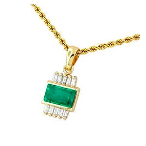Emerald pendant in 18K gold with emerald cut emerald and baguette cut diamonds