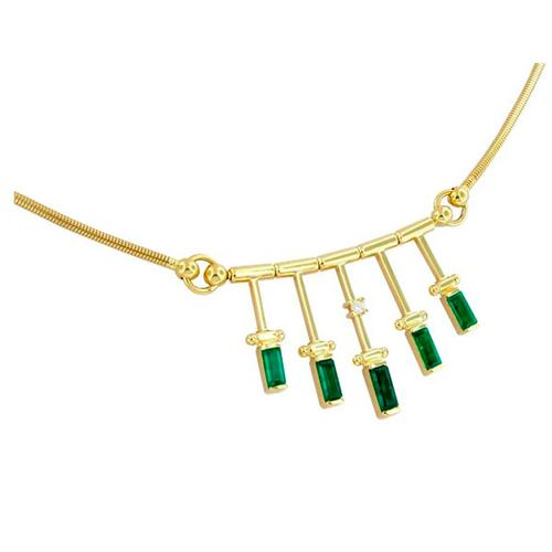 18K gold necklace with baguette emeralds and round diamond
