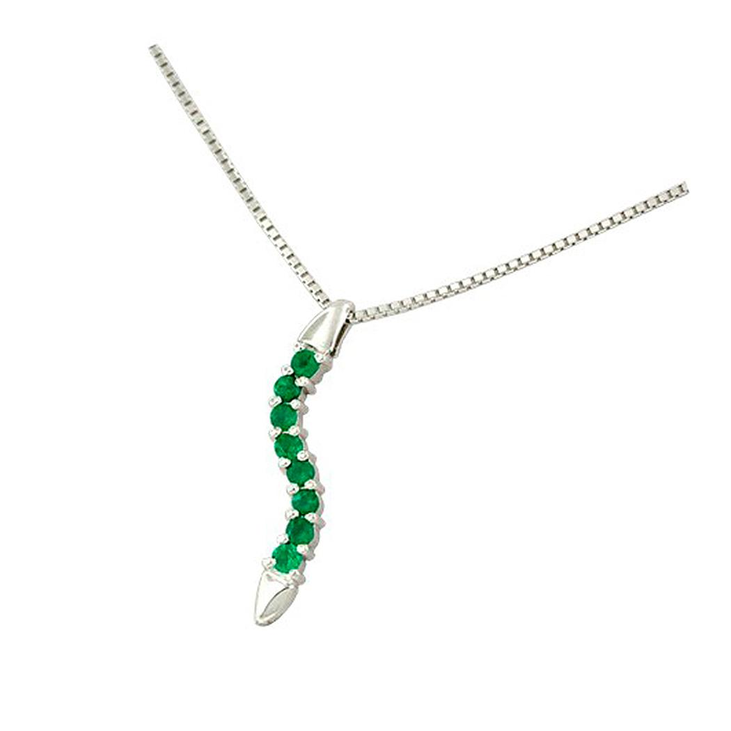 18K white gold emerald necklace with 8 round emeralds