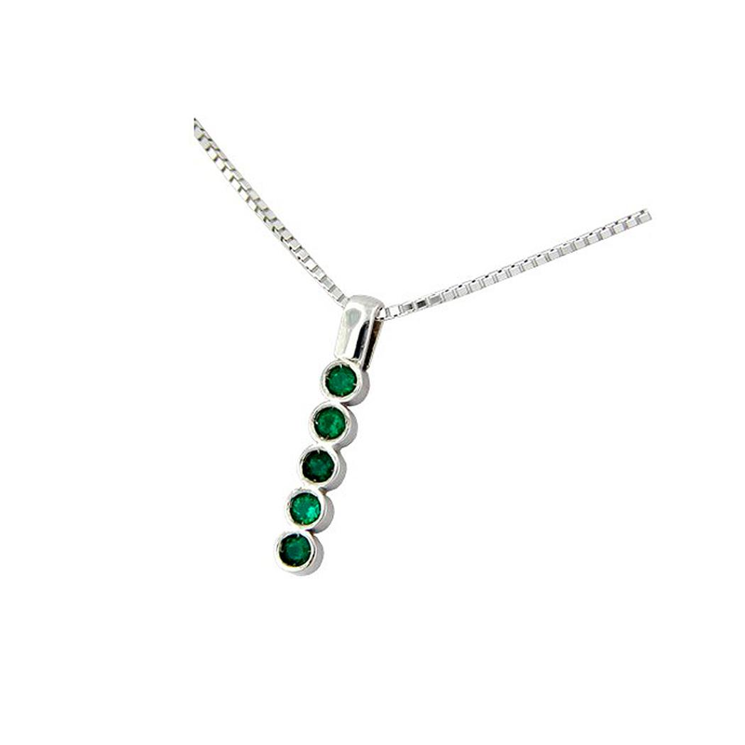 18K white gold emerald necklace with round emeralds