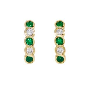 Drop Emerald and Diamond Earrings in 18K Yellow Gold Clip Backs