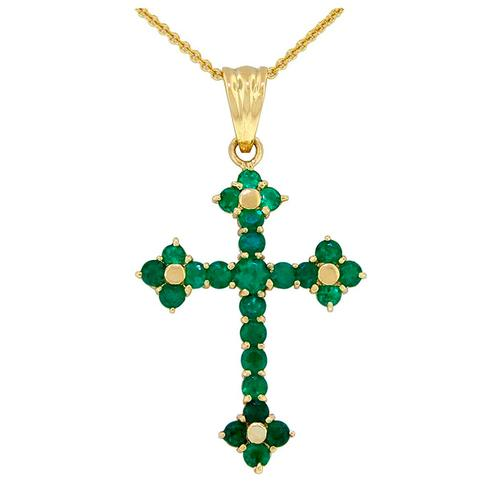 Cross emerald pendant in 18K yellow gold with 25 round cut emeralds