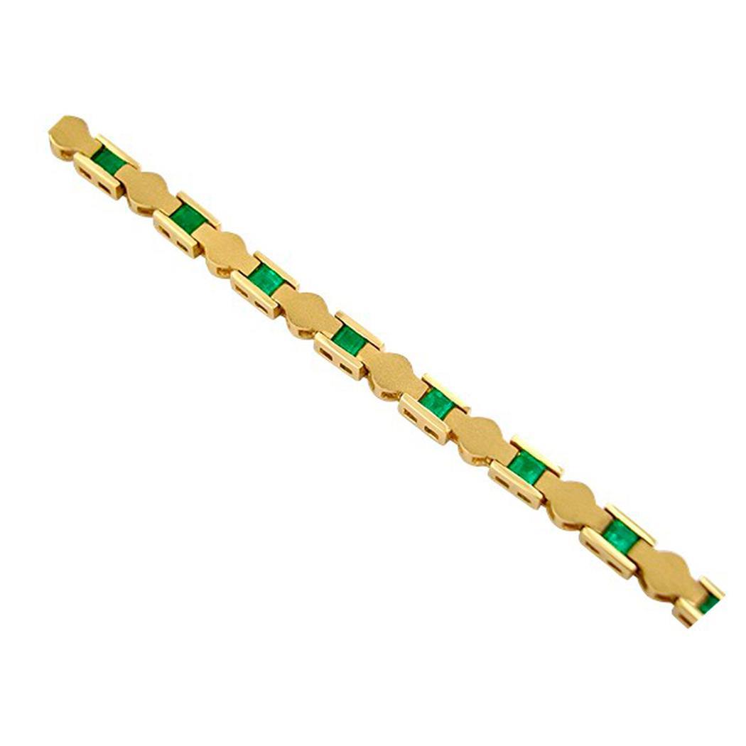 13 Emerald Cut Emeralds in 18K Yellow Gold Fine Sandblasted Finished Bracelet