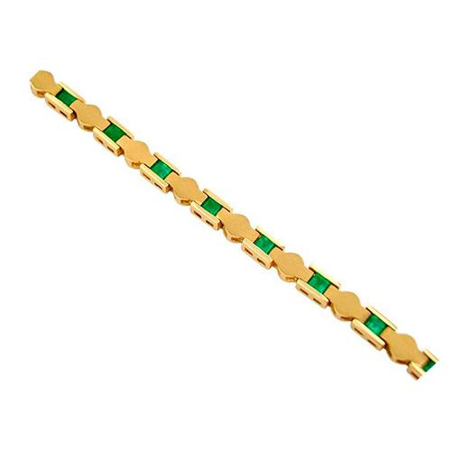 18K yellow gold emerald bracelet with sand blast finished