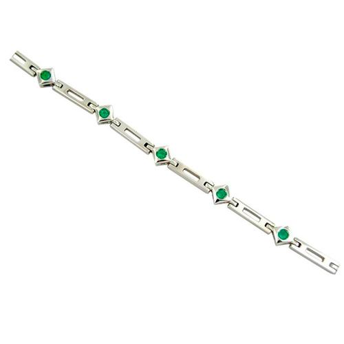 18K white gold emerald bracelet with 9 round cut emeralds