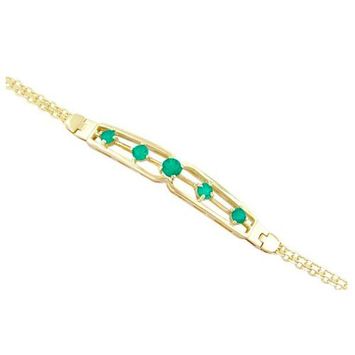 18K Yellow Gold Emerald Bracelet With 5 Round Cut Natural Emeralds