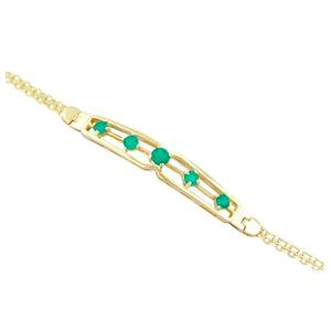 18K yellow gold emerald bracelet with 5 round cut emeralds