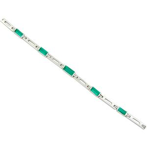 18K white gold emerald bracelet with 7 baguette cut emeralds