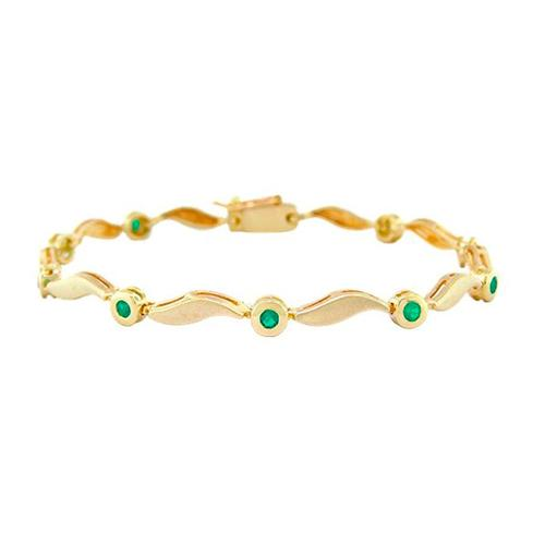 Emerald bracelet with sand blast finished 18K gold and 9 emeralds